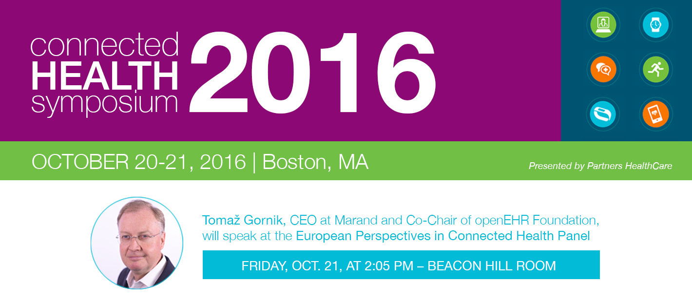 Marand CEO will speak at the 2016 Connected Health Symposium, on October 20-21 in Boston, MA.