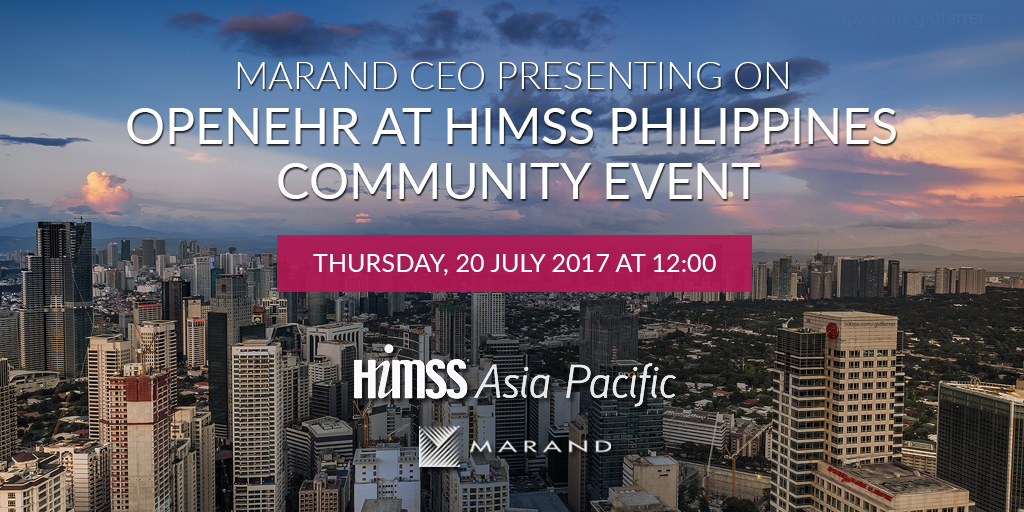 Marand CEO presenting on openEHR at HIMSS Philippines Community Event